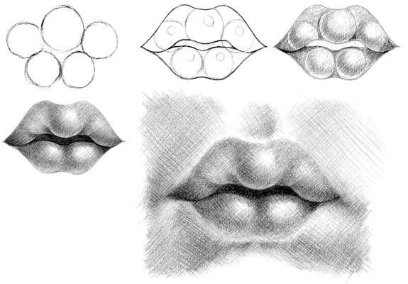 how to draw big anime lips